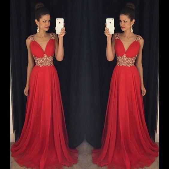 Newest V-Neck Beading Prom Dresses,Long Prom Dresses,Cheap Prom Dresses, Evening Dress Prom Gowns, Formal Women Dress,Prom Dress