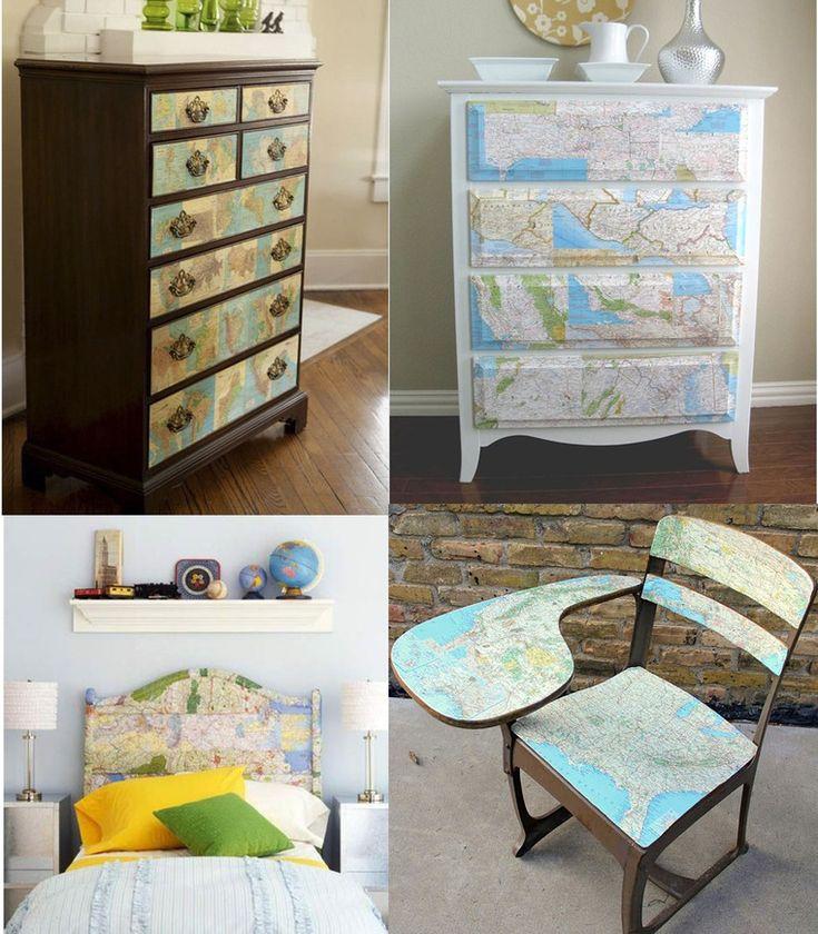 55 brilliant ideas to use old geographical charts in design / Как использовать старые географические карты - Ярмарка Мастеров - ручная работа, handmade