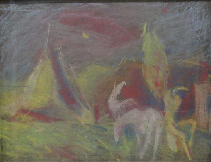 HARLEKÝNOV SEN  HLOŽNÍK VINCENT  Obdobie: 1941  Materiál: papier  Technika: pastel  Značenie: značené vpravo dole     #art #auction #hloznik #vincent #museum #auctionhouse #diana