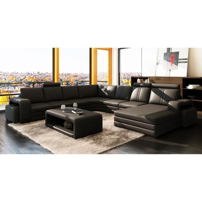 Canape D Angle Panoramique Cuir Noir 10 Places Hav Canape Angle Decoration Canape Cuir Noir Lit Design