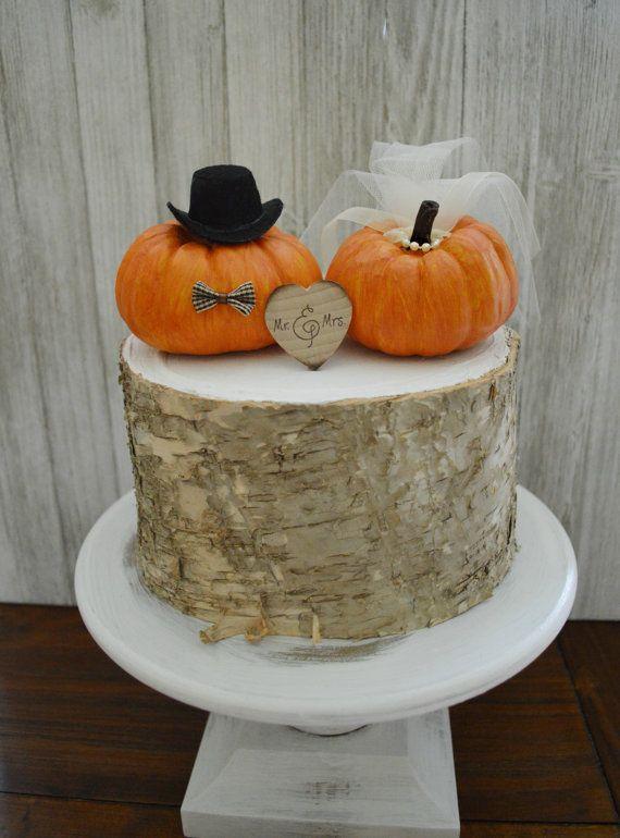 Pumpkin wedding cake topper fall weddings miniature pumpkin cake topper bride and groom Autumn Thanksgiving Mr and Mrs…