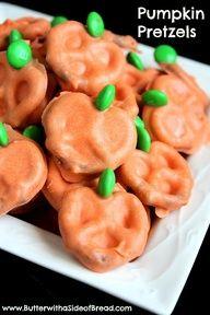 Pumpkin pretzels! Chocolate & pretzels = amazing! more teacher appreciation…