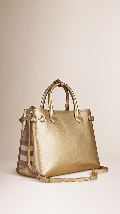 Dourado Bolsa The Banner média de couro com padrão House check - Imagem 1