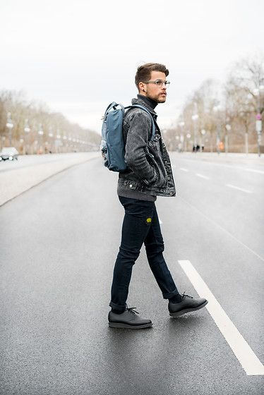 Get this look: http://lb.nu/look/8625249  More looks by Kevin Elezaj: http://lb.nu/kevinelezaj  Items in this look:  Dr. Martens Shoes, Cheap Monday Jeans, Hazebury Jacket, Eastpak Bag, Eyes And More Glasses   #dapper #edgy #street #ootd #outfit #outfitoftheday #look #lookoftheday #lookbook