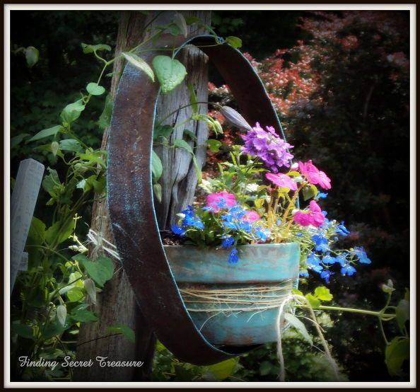 decorating my yard budget friendly way to bring color to your landscape use your, flowers, gardening, repurposing upcycling, Wine Barrel Ring and Aged Clay Flower Pot