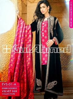 Embroidered Long Coats 2014-2015 | Gul Ahmad Winter Silk Velvet Coats For Men and Women