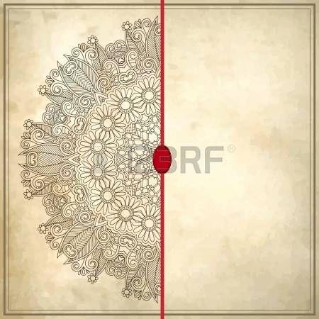 дизайн или с кругом цветы на фоне гранж с кружевными орнаментами.  Patr? N Украина на старом старинные бумаги фона фото
