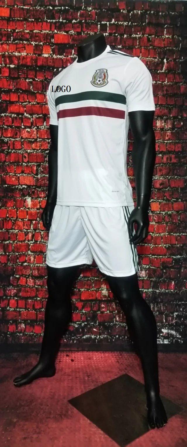 23dc46b8f2b 2017 Cheap Adult Mexico Away White Soccer Jersey Uniforms Men Football  Jersey Set Shirt+Short