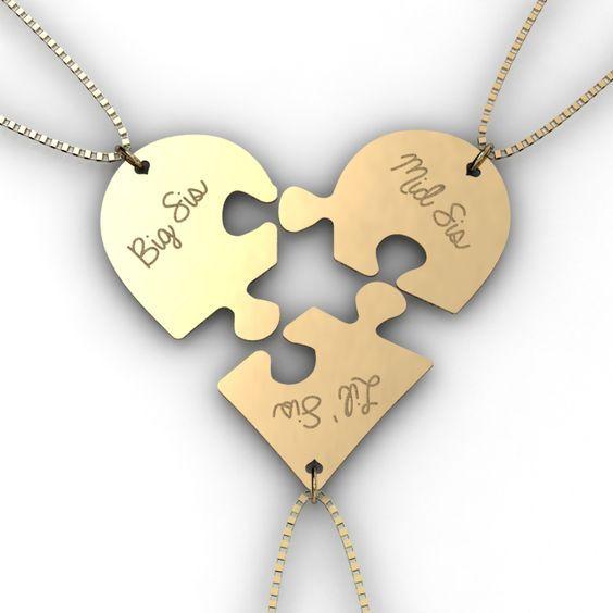 Sisters necklace : Trio of Broken Puzzle Hearts