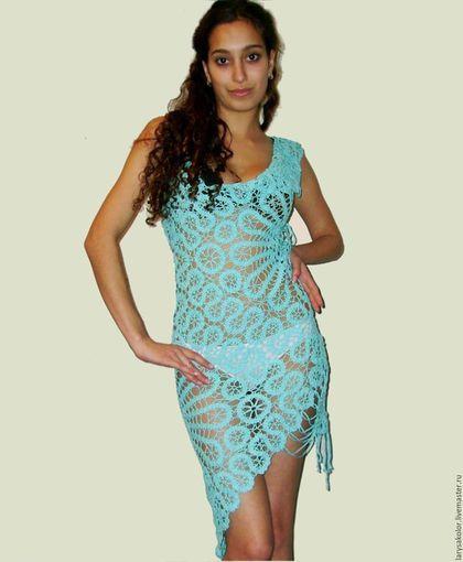 Купить или заказать Платье,,Бирюзовый Брюгге,, в интернет-магазине на Ярмарке Мастеров. Асимметричное расположение деталей,пастельные оттенки,изящное ажурное полотно придают легкости конструкции этой модели.Вязание в технике ,,брюггского кружева,,позволяет создавать причудливые легкие и пластичные полотна.Шнуровка на боку дает возможность регулировать…