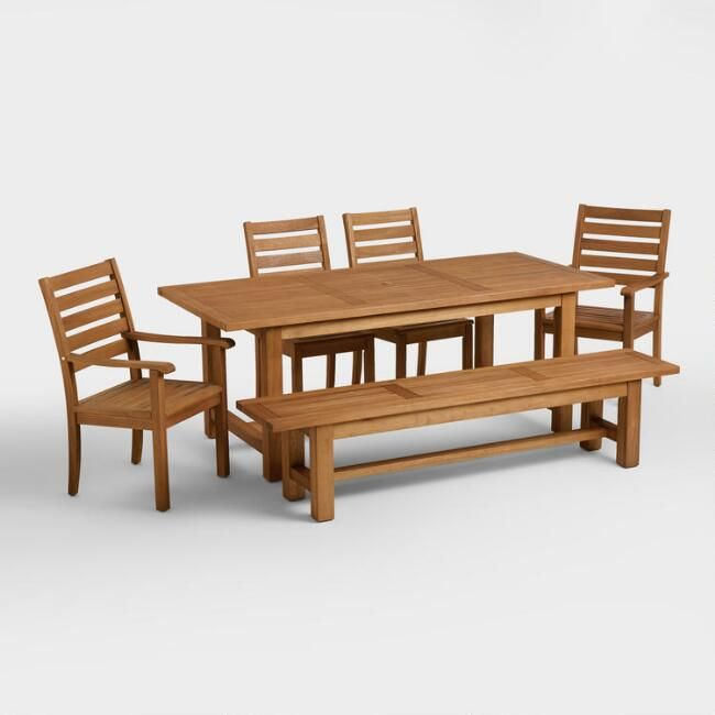Praiano Outdoor Dining Collection - World Market - Table $400, bench $230, chair $100, armed chair $110 - eucalyptus wood