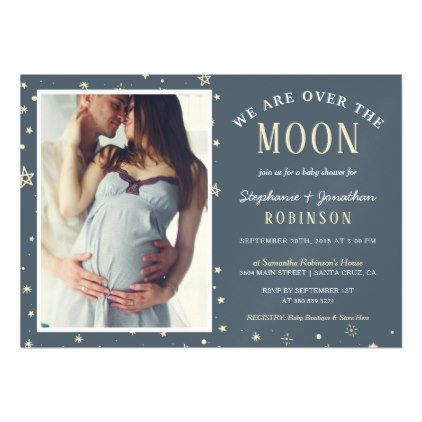 Trendy we are over the moon photo baby shower magnetic card trendy we are over the moon photo baby shower magnetic card couples shower invitations couple shower and invitation ideas filmwisefo