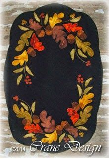 "Oak'nBerry Wool Applique Runner 14"" by 21"""