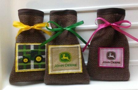 John Deere Burlap Party Favor Drawstring Bags by StitchesToPieces, $18.00