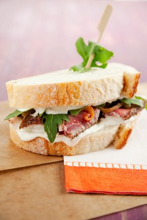 Paula Deen Prime Rib Sandwich with Caramelized Onions, Arugula and Horseradish Cream
