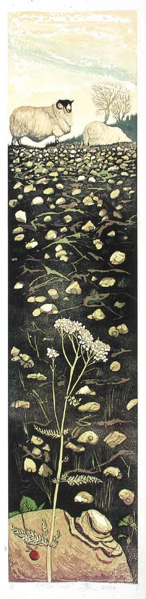 Barbara Robertson - Linocut Print winter_feed