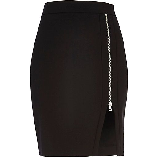 Black zipped split front pencil skirt - tube / pencil skirts - skirts - women