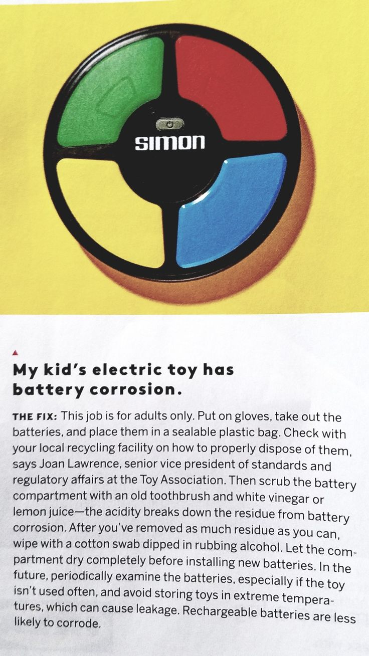 Clean up a corroded toy battery Recycling facility, Kids