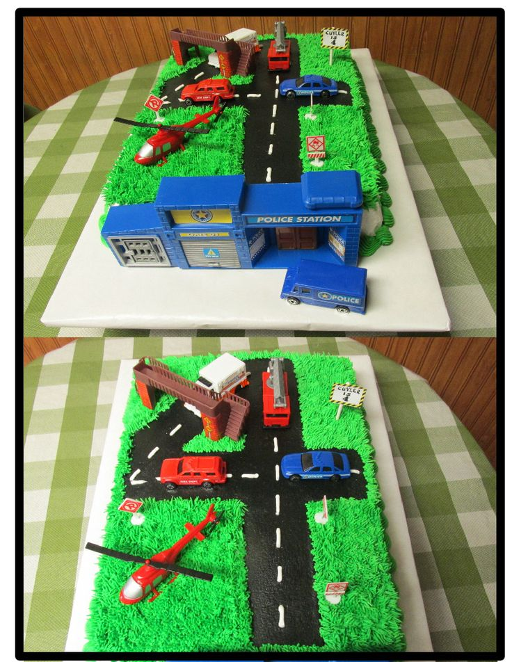 Number 4 cake with police station and cars.
