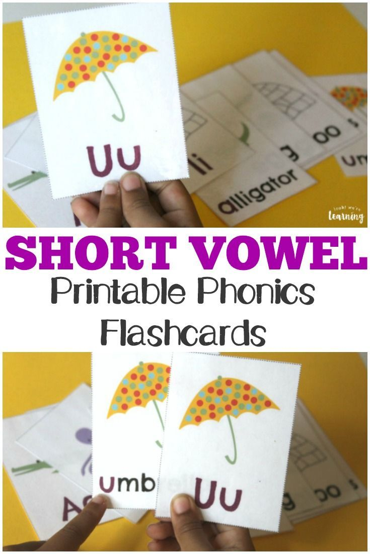 graphic about Phonics Flashcards Printable called Printable Small Vowel Flashcards for Phonics Teach
