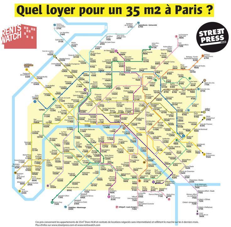Cette carte des loyers parisiens selon leur station de métro, mise au point par StreetPress et Rentswatch: | 17 cartes qui vont vous faire voir le métro parisien autrement