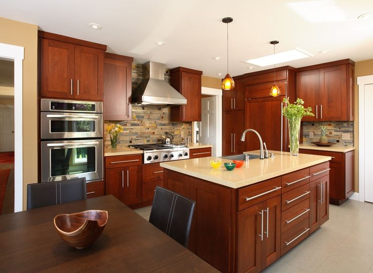 Kitchen Cherry Cabinets Traditional with Eat in Contemporary Gas and Electric Ranges