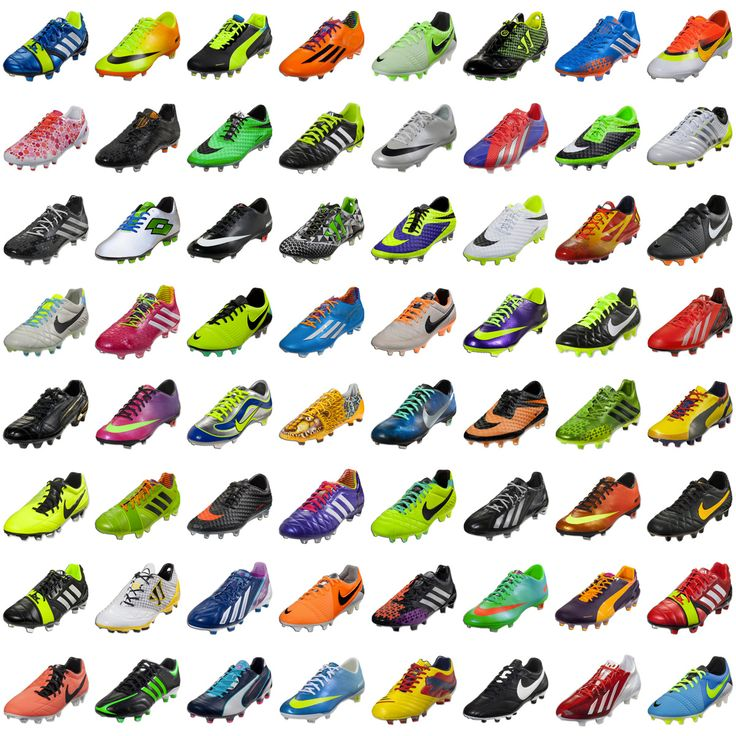 Some of the most popular #soccer #cleats of 2013 I have the ones seventh row, 3 from the right!!! The green and blue nikes with the orange swoosh!!!