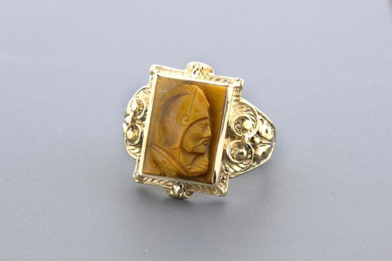 10k Yellow Gold Ring And Hand Carved Conquistador Tiger Eye Yellow Gold Rings Gold Rings Yellow Gold