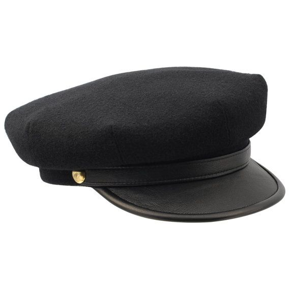 Motorcycle peaked cap with leather brim and cloth by HatterShop, $48.00