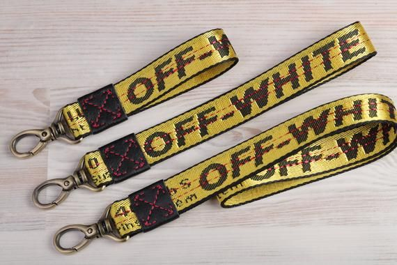 Authentic Repurposed Off White Keychain Wristlet Lanyard Wrist Strap Id Holder Tag Handmade Keyf Cute Lanyards For Keys Wristlet Keychain Wrist Strap