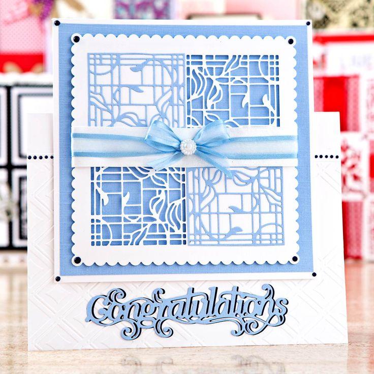 Congratulations card design from the @tonicstudiosuk Patchwork Perfections Bundle! Shop now: http://www.createandcraft.tv/pp/tonic-patchwork-perfections-3-sets-of-dies%2c-embossing-folder-paper-bundle-350006?utm_medium=social&utm_source=pinterest&utm_campaign=product&utm_content=pow