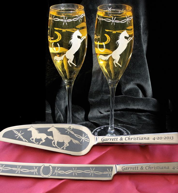 Personalized Horse Themed Wedding Cake Server & Champagne Flutes, Country Western Wedding - www.BradGoodellWeddings.com