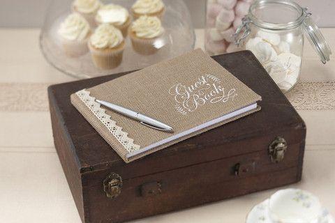 'A Vintage Affair' Wedding Guest Book in Hession Burlap - Cadeaux.ie #weddingideas #weddingplanning #wedding