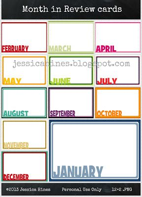 Jessica Hines Designs: Freebie Month in Review journal cards #ProjectLife