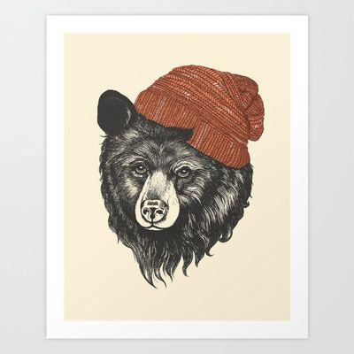 zissou the bear Art Print by Laura Graves - $18.00