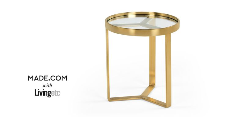 Aula Side Table, Brushed Brass and Glass