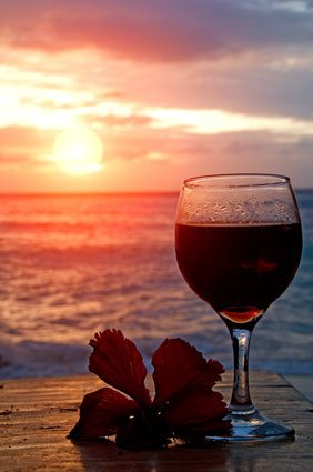 Beautiful Sunsets, and fine red wine! Always a great idea at the beach