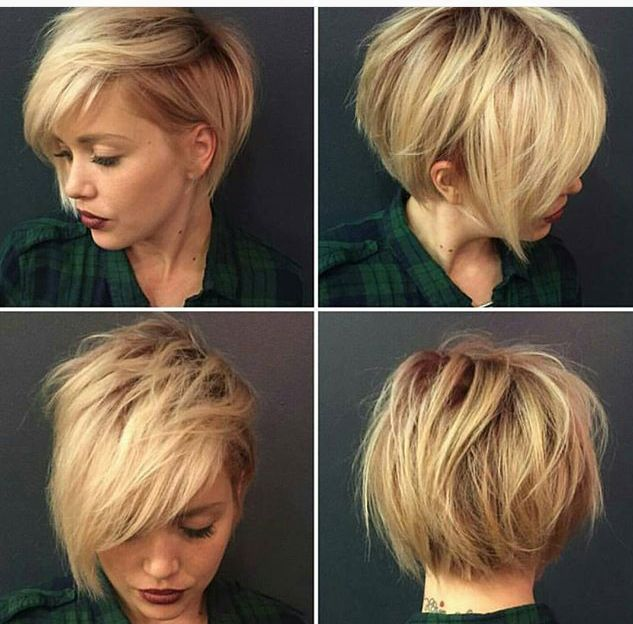 Messy textured short haircut. Natural blonde shadow root. By @katiezimbalisalon