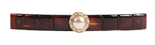 Caravan Hand Decorated Long Tortoise Shell Boxed with Large Pearl and Swarovski Crystal Stone Gold Setting, .65 Ounce * You can find out more details at the link of the image.