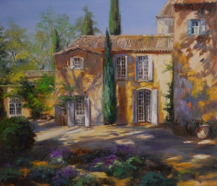 Ute Herrmann | Ein Haus in der Provence am Nachmittag, eingebettet in einen Garten mit großen Bäumen und Zypressen | www.ute-herrmann-kunstmalerin.de