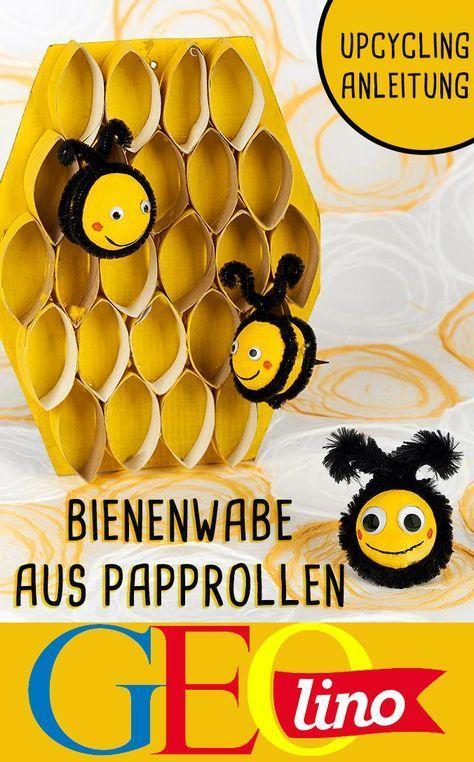 Papprollen lassen sich wunderbar in eine tolle Bienenwabe verwandeln!