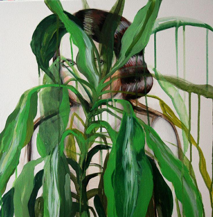 "Saatchi Art Artist: Hanna Ilczyszyn; Acrylic 2013 Painting ""Behind the plant"" #art (CJ)"