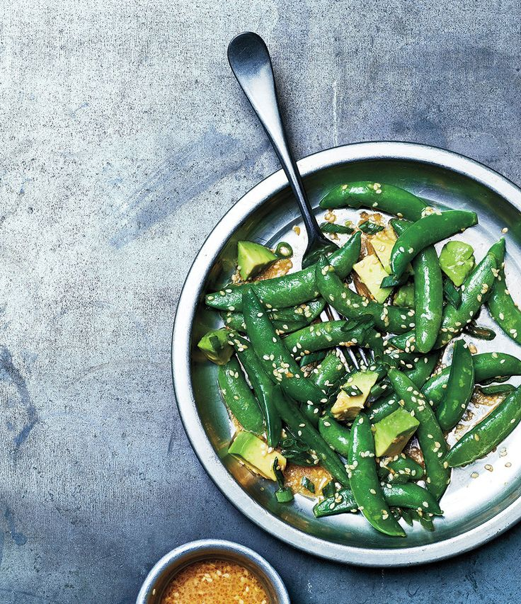 Our sugar snap peas and avocado salad with sesame dressing has Japanese flair. Photo by Jeff Coulson.