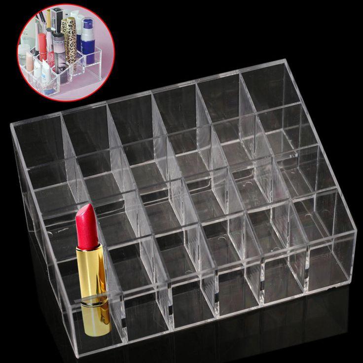 Aliexpress.com: Comprar Hot Acrílico 24 Lipstick Lip Gloss Maquillaje Holder Soporte de Exhibición de Rack de Almacenamiento de Cosméticos Organizador de Maquillaje caja de la Caja de Contenedor de caja de televisión fiable proveedores en la aptitud