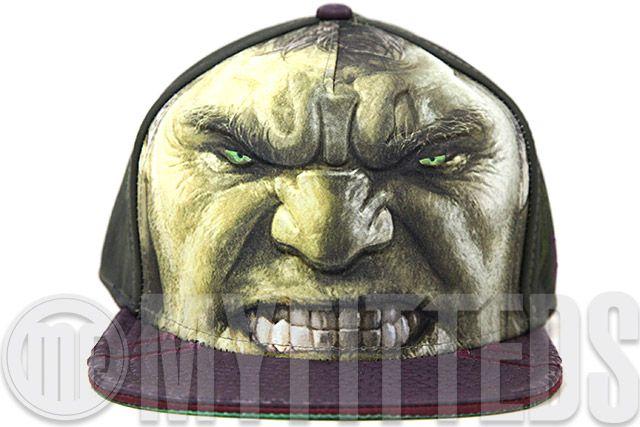 Avengers Age of Ultron Incredible Hulk Character Armor Menacing Green Wicker New Era Fitted Cap