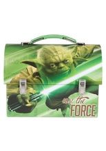"Star Wars Dome Tin School Lunch Box Green """"Use the force"""" - Yoda"