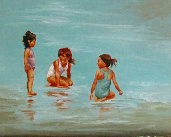 Girls Playing On Beach Oil Painting
