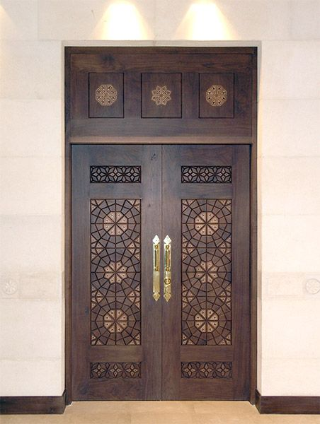 A door inside King Hussein Mosque in Amman, Jordan, designed by Khaled Azzam.