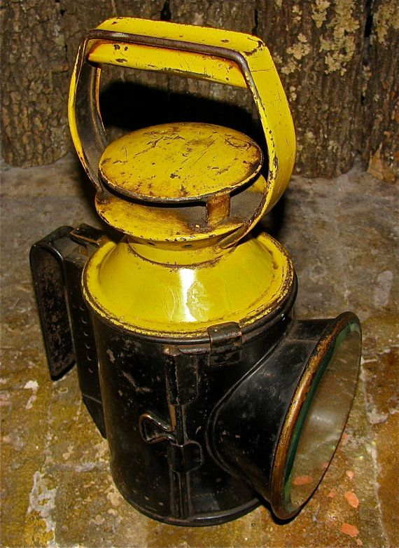 Antique Railroad Lantern / Oil / Kerosene Lamp by downthepipelines, $172.00