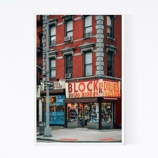 Noir Gallery Block Drug Stores Sign New York Framed Art Print (20 x 30 – Beech)